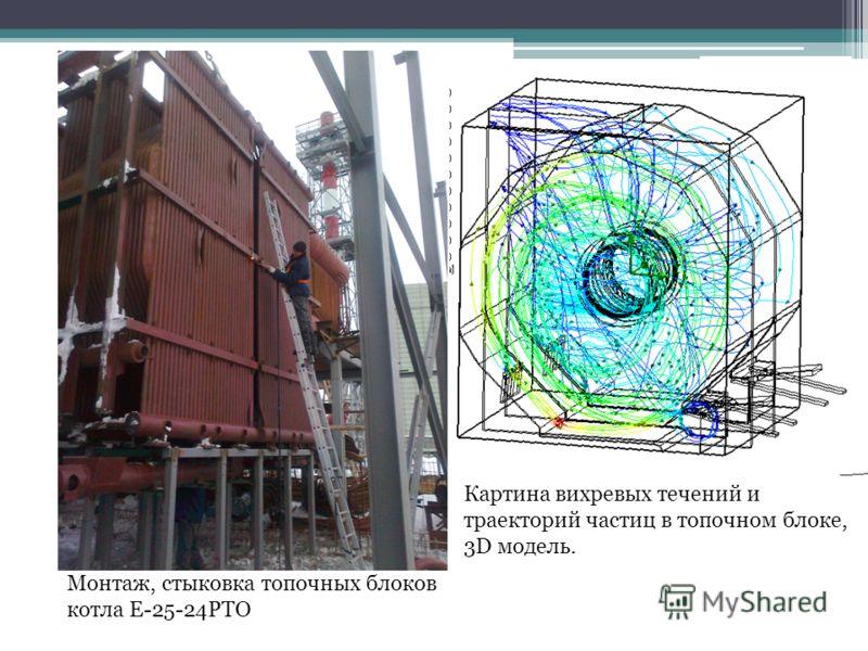 Монтаж, стыковка топочных блоков котла Е-25-24РТО Картина вихревых течений и траекторий частиц в топочном блоке, 3D модель.
