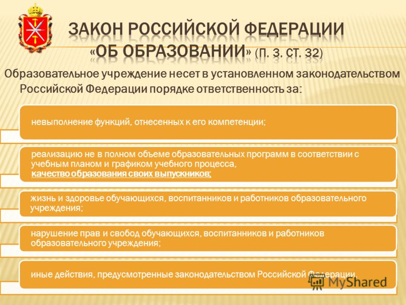 Образовательное учреждение несет в установленном законодательством Российской Федерации порядке ответственность за: невыполнение функций, отнесенных к его компетенции; реализацию не в полном объеме образовательных программ в соответствии с учебным пл