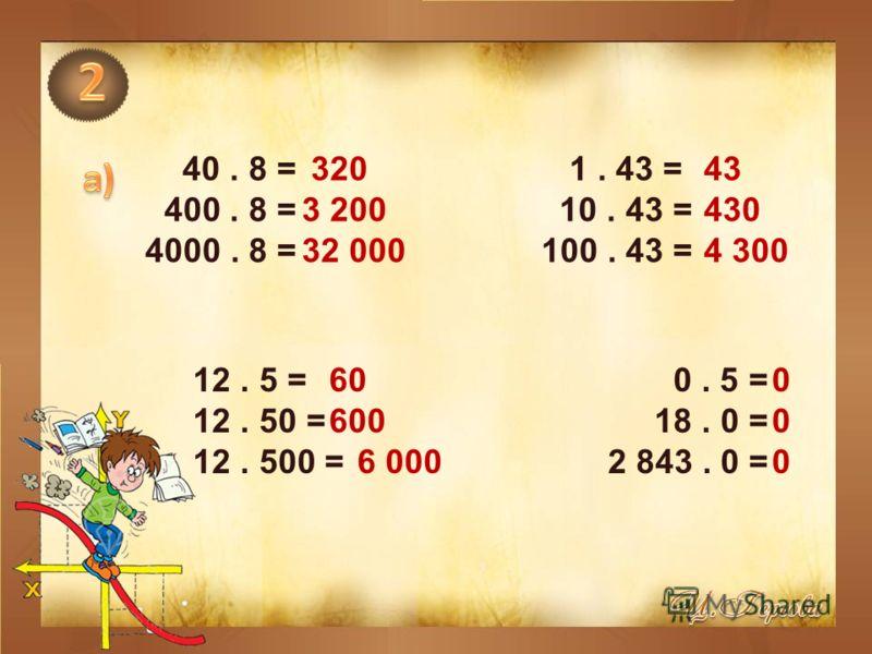 40. 8 = 1. 43 = 400. 8 = 10. 43 = 4000. 8 = 100. 43 = 12. 5 = 0. 5 = 12. 50 = 18. 0 = 12. 500 = 2 843. 0 = 320 3 200 32 000 43 430 4 300 60 600 6 000 000000