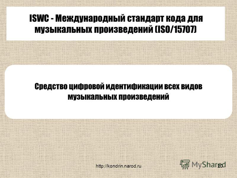 http://kondrin.narod.ru20 ISWC - Международный стандарт кода для музыкальных произведений (ISO/15707) Средство цифровой идентификации всех видов музыкальных произведений