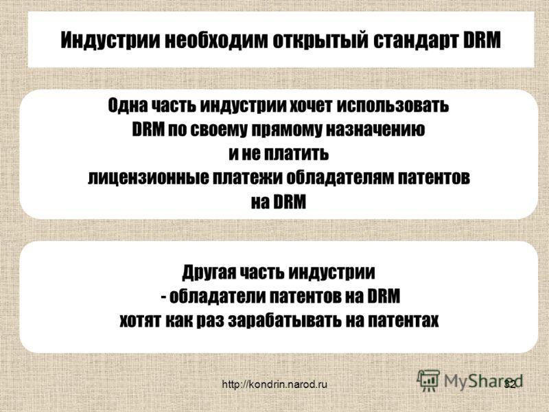 http://kondrin.narod.ru32 Индустрии необходим открытый стандарт DRM Одна часть индустрии хочет использовать DRM по своему прямому назначению и не платить лицензионные платежи обладателям патентов на DRM Другая часть индустрии - обладатели патентов на