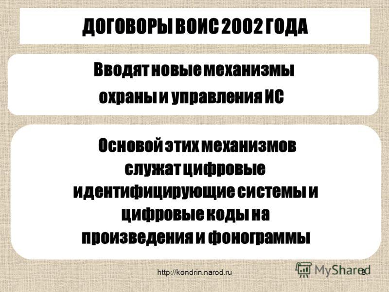 http://kondrin.narod.ru8 ДОГОВОРЫ ВОИС 2002 ГОДА Вводят новые механизмы охраны и управления ИС Основой этих механизмов служат цифровые идентифицирующие системы и цифровые коды на произведения и фонограммы