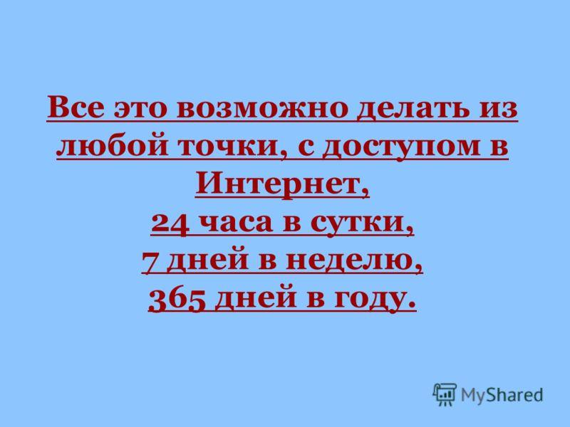Все это возможно делать из любой точки, с доступом в Интернет, 24 часа в сутки, 7 дней в неделю, 365 дней в году.