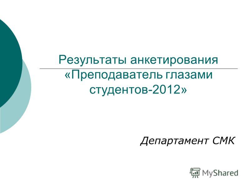 Результаты анкетирования «Преподаватель глазами студентов-2012» Департамент СМК