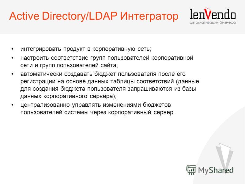 21 Active Directory/LDAP Интегратор интегрировать продукт в корпоративную сеть; настроить соответствие групп пользователей корпоративной сети и групп пользователей сайта; автоматически создавать бюджет пользователя после его регистрации на основе дан