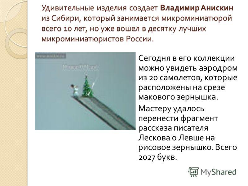 Удивительные изделия создает Владимир Анискин из Сибири, который занимается микроминиатюрой всего 10 лет, но уже вошел в десятку лучших микроминиатюристов России. Сегодня в его коллекции можно увидеть аэродром из 20 самолетов, которые расположены на