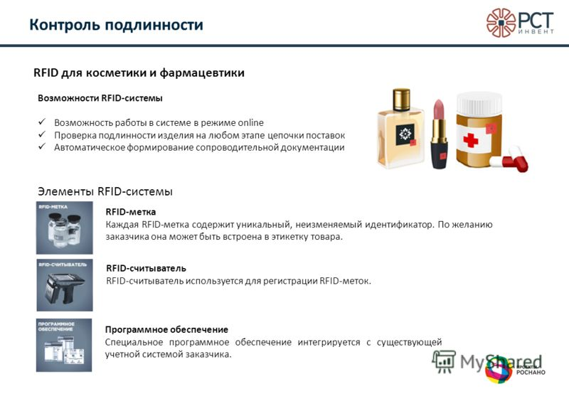 Контроль подлинности RFID для косметики и фармацевтики Элементы RFID-системы RFID-метка Каждая RFID-метка содержит уникальный, неизменяемый идентификатор. По желанию заказчика она может быть встроена в этикетку товара. RFID-считыватель RFID-считывате