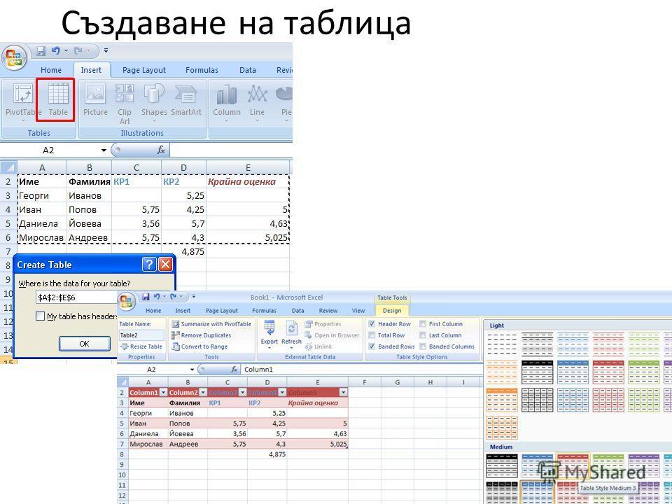 Създаване на таблица