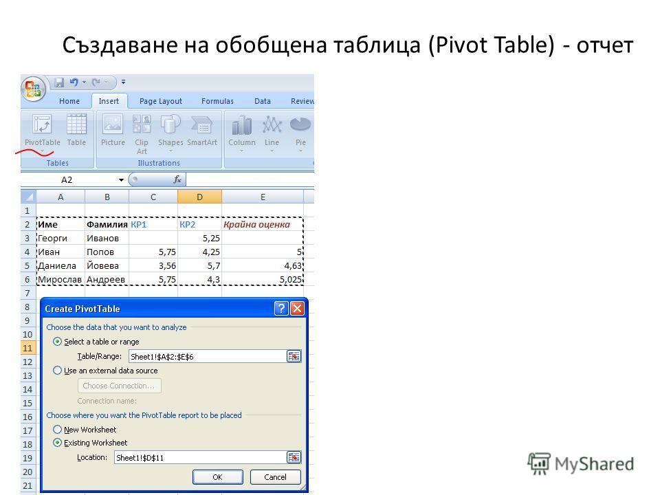 Създаване на обобщена таблица (Pivot Table) - отчет