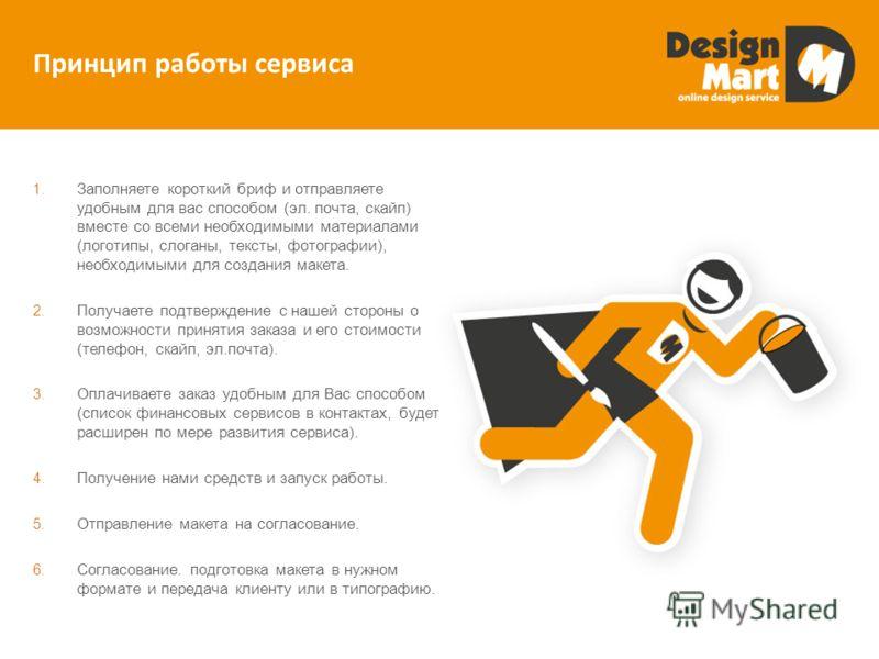 Принцип работы сервиса 1. Заполняете короткий бриф и отправляете удобным для вас способом (эл. почта, скайп) вместе со всеми необходимыми материалами (логотипы, слоганы, тексты, фотографии), необходимыми для создания макета. 2. Получаете подтверждени