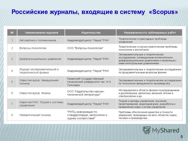 8 Российские журналы, входящие в систему «Scopus»