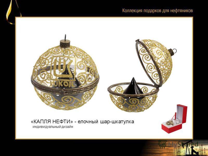 «КАПЛЯ НЕФТИ» - елочный шар-шкатулка индивидуальный дизайн