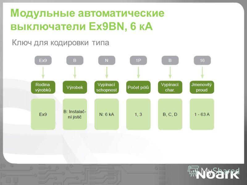 Модульные автоматические выключатели Ex9BN, 6 кА Ключ для кодировки типа