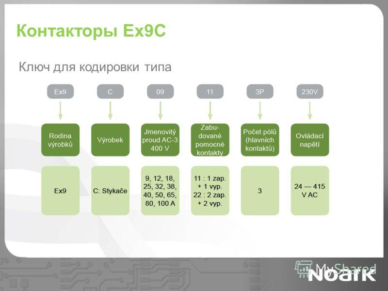 Контакторы Ex9C Ключ для кодировки типа