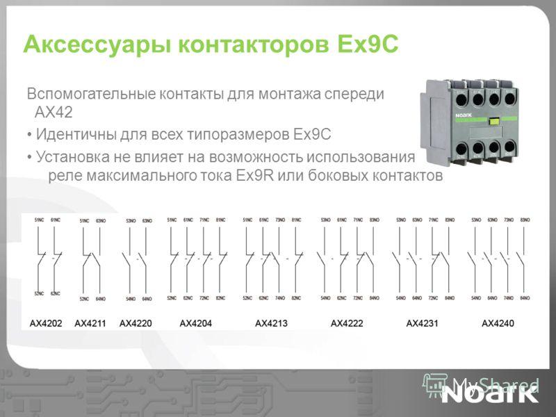 Аксессуары контакторов Ex9C Вспомогательные контакты для монтажа спереди AX42 Идентичны для всех типоразмеров Ex9C Установка не влияет на возможность использования реле максимального тока Ex9R или боковых контактов