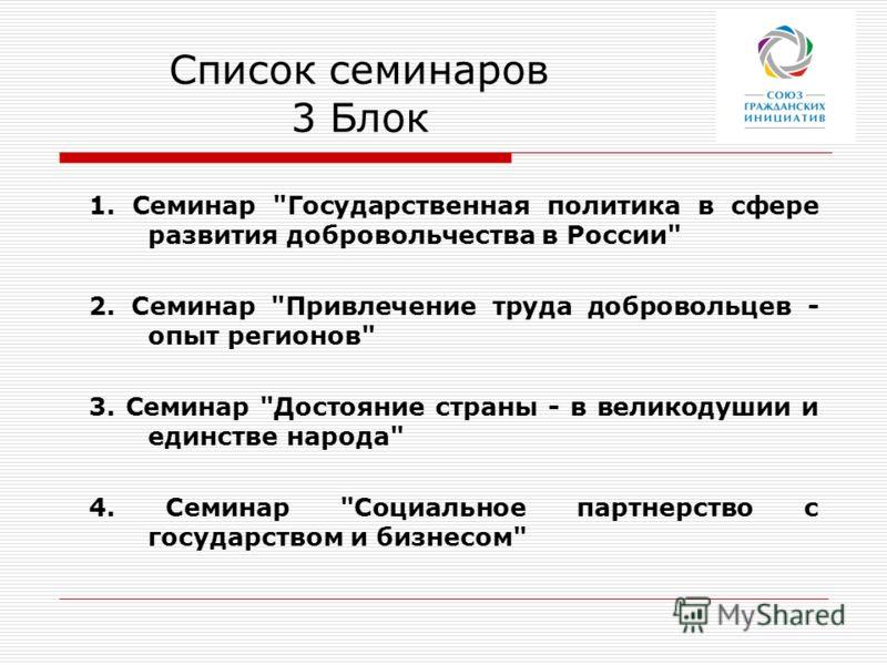 Список семинаров 3 Блок 1. Семинар