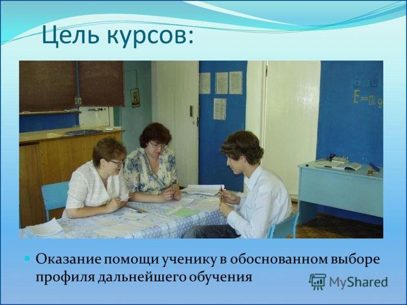 Цель курсов: Оказание помощи ученику в обоснованном выборе профиля дальнейшего обучения