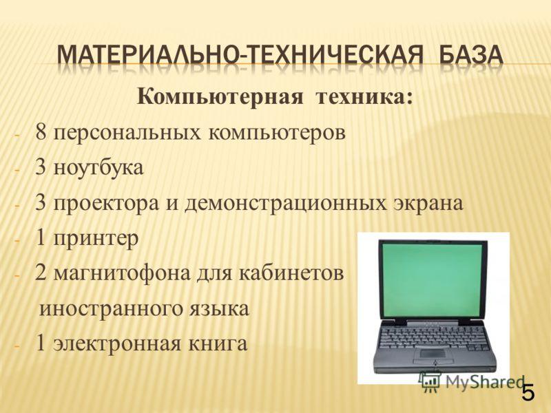 Компьютерная техника: - 8 персональных компьютеров - 3 ноутбука - 3 проектора и демонстрационных экрана - 1 принтер - 2 магнитофона для кабинетов иностранного языка - 1 электронная книга 5