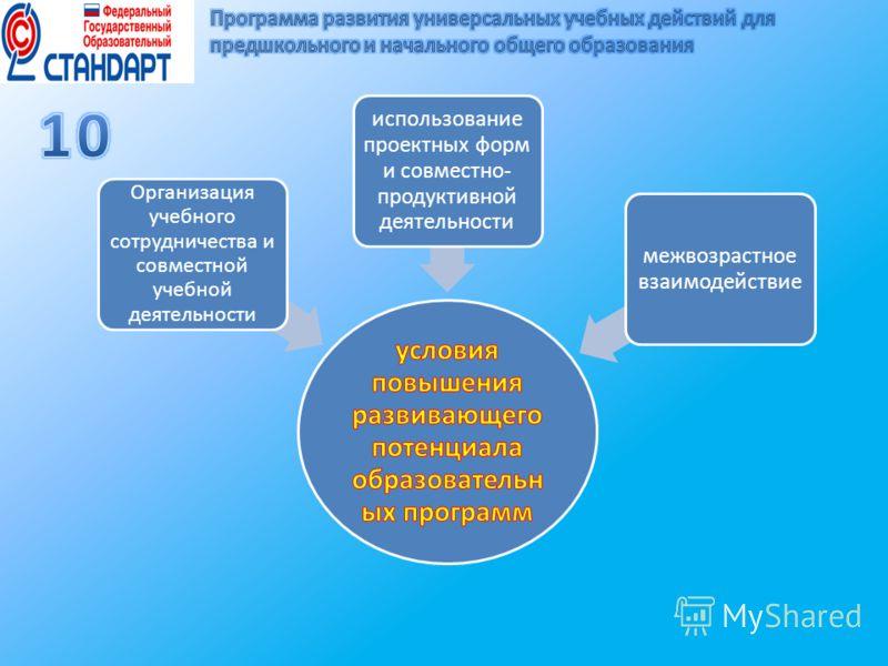 Организация учебного сотрудничества и совместной учебной деятельности использование проектных форм и совместно- продуктивной деятельности межвозрастное взаимодействие