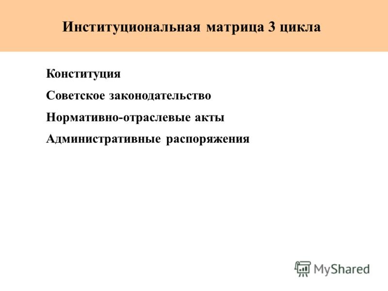 Институциональная матрица 3 цикла Конституция Советское законодательство Нормативно-отраслевые акты Административные распоряжения