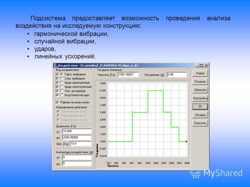 Подсистема предоставляет возможность проведения анализа воздействия на исследуемую конструкцию: гармонической вибрации, случайной вибрации, ударов, линейных ускорений.