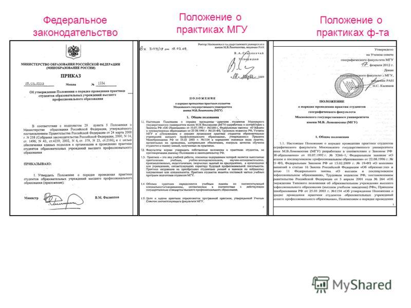 Федеральное законодательство Положение о практиках МГУ Положение о практиках ф-та