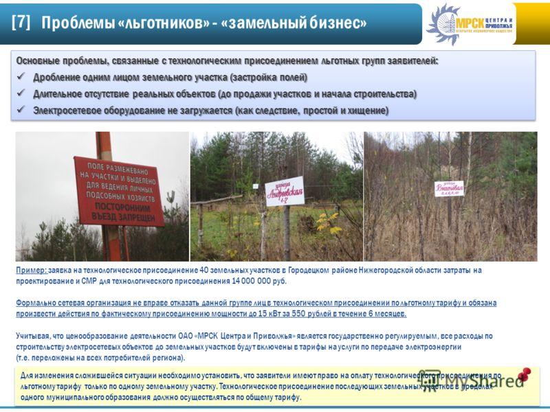 [7][7] Пример: заявка на технологическое присоединение 40 земельных участков в Городецком районе Нижегородской области затраты на проектирование и СМР для технологического присоединения 14 000 000 руб. Формально сетевая организация не вправе отказать