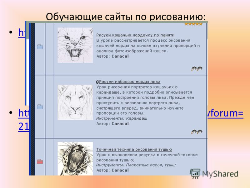 Обучающие сайты по рисованию: http://risunok.love2learn.ru/ http://arttower.ru/forum/index.php?showforum= 21 http://arttower.ru/forum/index.php?showforum= 21