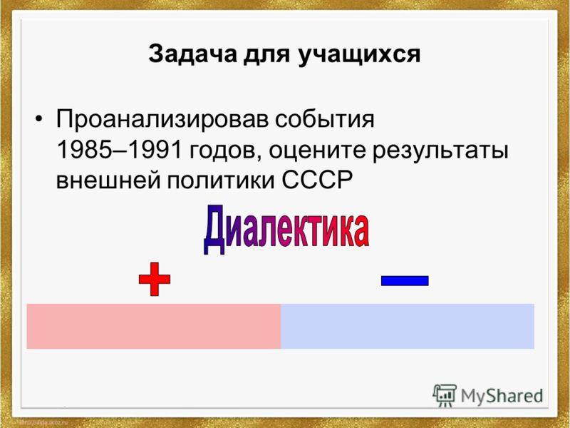 Задача для учащихся Проанализировав события 1985–1991 годов, оцените результаты внешней политики СССР
