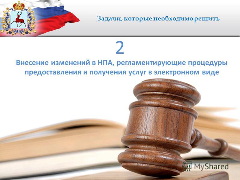 Задачи, которые необходимо решить Внесение изменений в НПА, регламентирующие процедуры предоставления и получения услуг в электронном виде 2