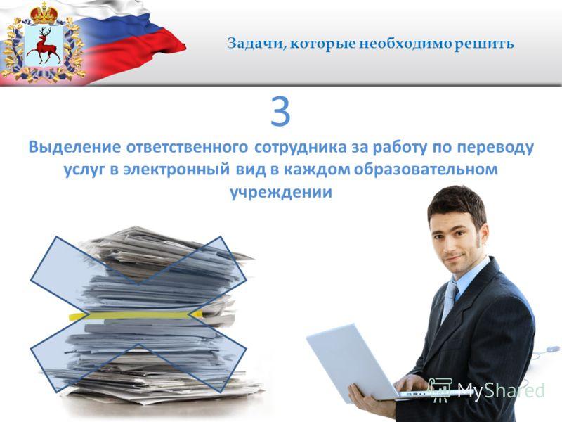 Задачи, которые необходимо решить Выделение ответственного сотрудника за работу по переводу услуг в электронный вид в каждом образовательном учреждении 3