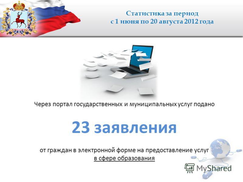 Статистика за период с 1 июня по 20 августа 2012 года Через портал государственных и муниципальных услуг подано 23 заявления от граждан в электронной форме на предоставление услуг в сфере образования