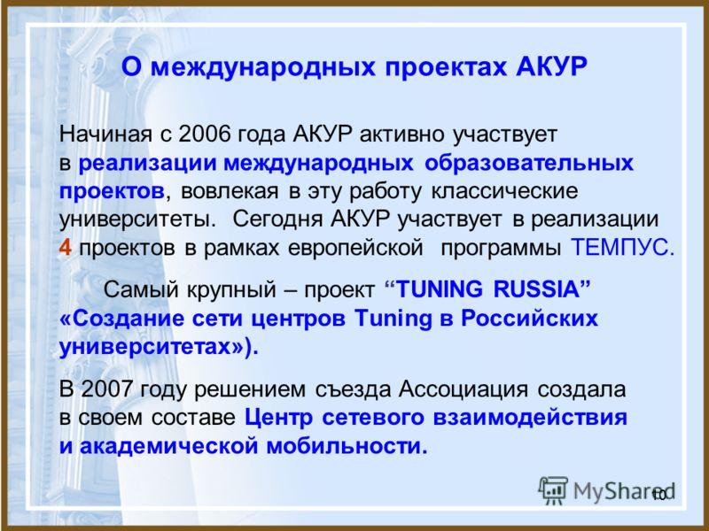 10 О международных проектах АКУР Начиная с 2006 года АКУР активно участвует в реализации международных образовательных проектов, вовлекая в эту работу классические университеты. Сегодня АКУР участвует в реализации 4 проектов в рамках европейской прог
