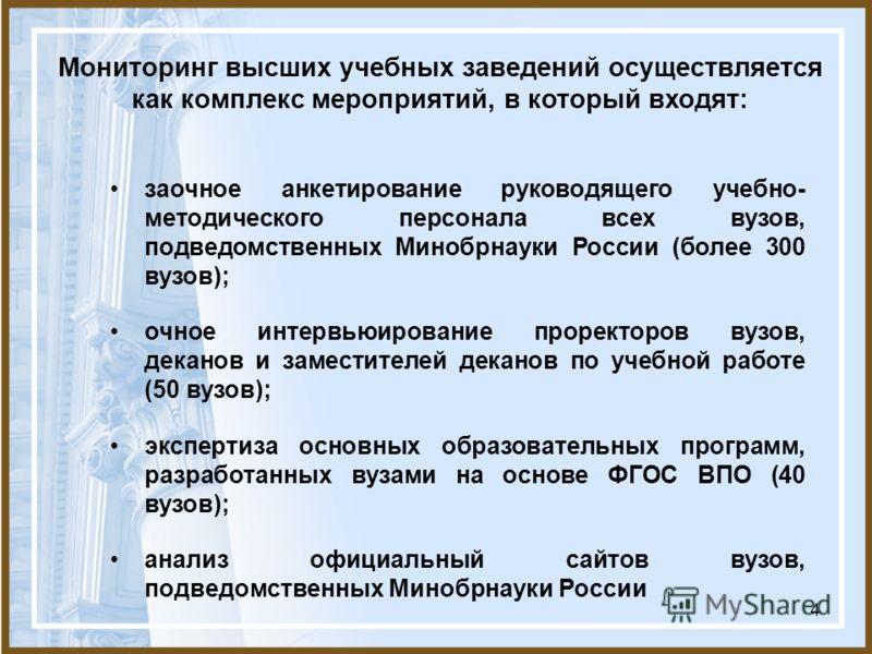 4 заочное анкетирование руководящего учебно- методического персонала всех вузов, подведомственных Минобрнауки России (более 300 вузов); очное интервьюирование проректоров вузов, деканов и заместителей деканов по учебной работе (50 вузов); экспертиза