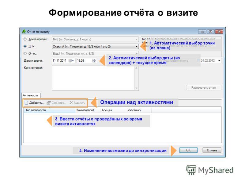 Формирование отчёта о визите 3. Ввести отчёты о проведённых во время визита активностях 1. Автоматический выбор точки (из плана) 2. Автоматический выбор даты (из календаря) + текущее время 4. Изменение возможно до синхронизации Операции над активност