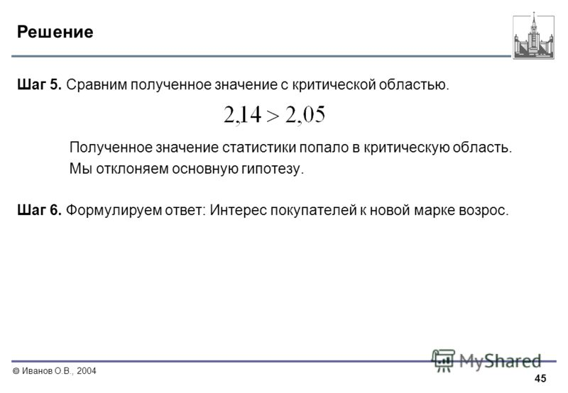 45 Иванов О.В., 2004 Решение Шаг 5. Сравним полученное значение с критической областью. Полученное значение статистики попало в критическую область. Мы отклоняем основную гипотезу. Шаг 6. Формулируем ответ: Интерес покупателей к новой марке возрос.