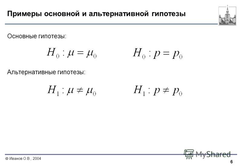 6 Иванов О.В., 2004 Примеры основной и альтернативной гипотезы Основные гипотезы: Альтернативные гипотезы: