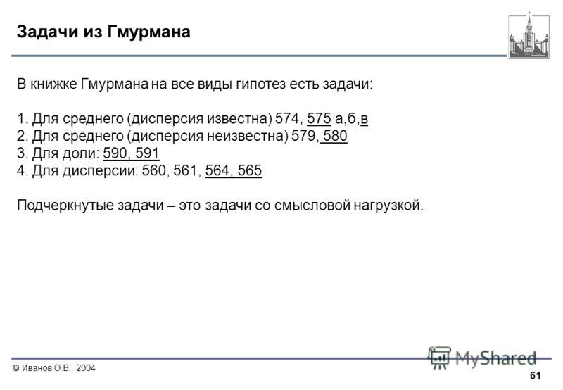 61 Иванов О.В., 2004 Задачи из Гмурмана В книжке Гмурмана на все виды гипотез есть задачи: 1. Для среднего (дисперсия известна) 574, 575 а,б,в 2. Для среднего (дисперсия неизвестна) 579, 580 3. Для доли: 590, 591 4. Для дисперсии: 560, 561, 564, 565
