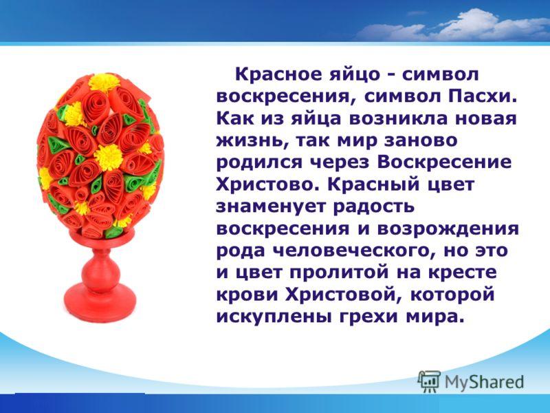 www.themegallery.com Company Logo Красное яйцо - символ воскресения, символ Пасхи. Как из яйца возникла новая жизнь, так мир заново родился через Воскресение Христово. Красный цвет знаменует радость воскресения и возрождения рода человеческого, но эт
