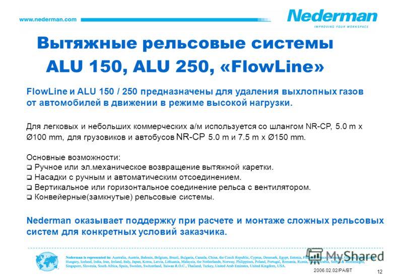 12 Вытяжные рельсовые системы ALU 150, ALU 250, «FlowLine» Для легковых и небольших коммерческих а/м используется со шлангом NR-CP, 5.0 m x Ø100 mm, для грузовиков и автобусов NR-CP 5.0 m и 7.5 m x Ø150 mm. Основные возможности: Ручное или эл.механич