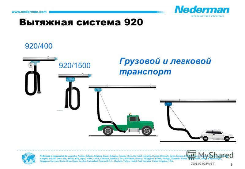9 Грузовой и легковой транспорт 2006.02.02/PA/BT Вытяжная система 920 920/400 920/1500