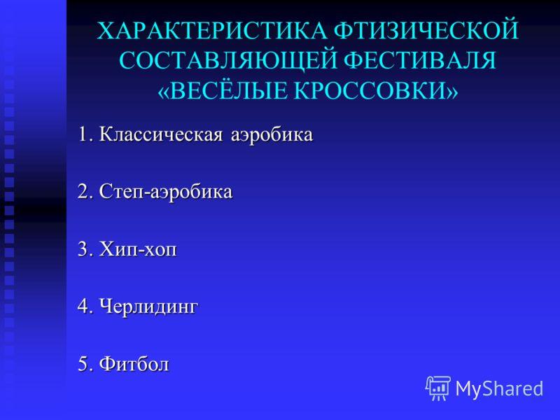 ХАРАКТЕРИСТИКА ФТИЗИЧЕСКОЙ СОСТАВЛЯЮЩЕЙ ФЕСТИВАЛЯ «ВЕСЁЛЫЕ КРОССОВКИ» 1. Классическая аэробика 2. Степ-аэробика 3. Хип-хоп 4. Черлидинг 5. Фитбол
