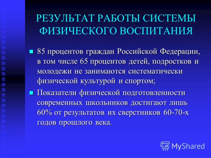 РЕЗУЛЬТАТ РАБОТЫ СИСТЕМЫ ФИЗИЧЕСКОГО ВОСПИТАНИЯ 85 процентов граждан Российской Федерации, в том числе 65 процентов детей, подростков и молодежи не занимаются систематически физической культурой и спортом; 85 процентов граждан Российской Федерации, в