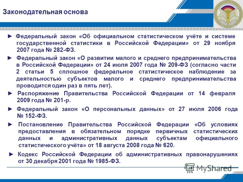 Законодательная основа Федеральный закон «Об официальном статистическом учёте и системе государственной статистики в Российской Федерации» от 29 ноября 2007 года 282-ФЗ. Федеральный закон «О развитии малого и среднего предпринимательства в Российской