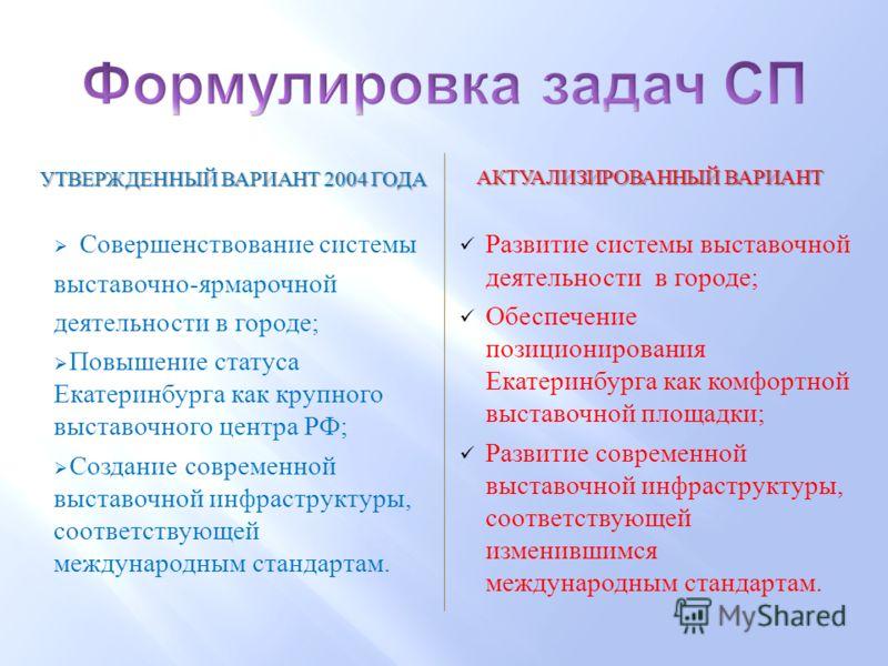 Совершенствование системы выставочно - ярмарочной деятельности в городе ; Повышение статуса Екатеринбурга как крупного выставочного центра РФ ; Создание современной выставочной инфраструктуры, соответствующей международным стандартам. АКТУАЛИЗИРОВАНН