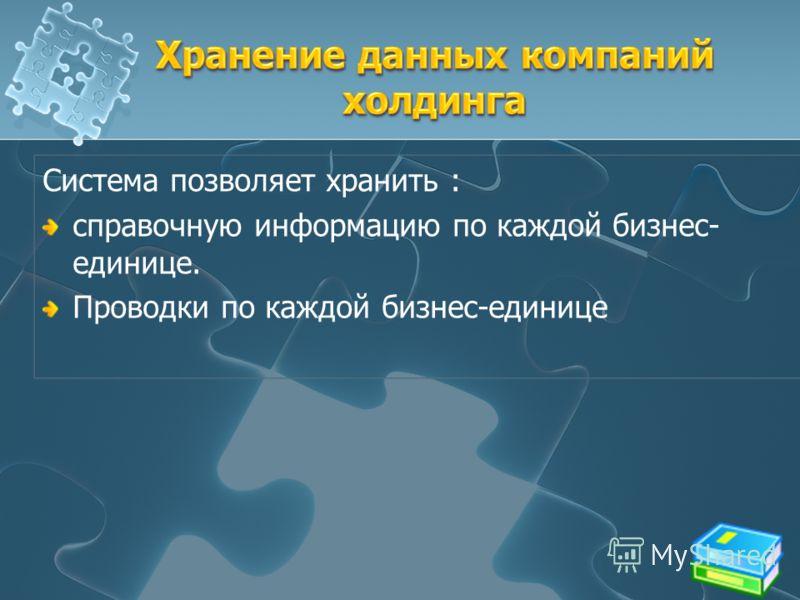 Система позволяет хранить : справочную информацию по каждой бизнес- единице. Проводки по каждой бизнес-единице