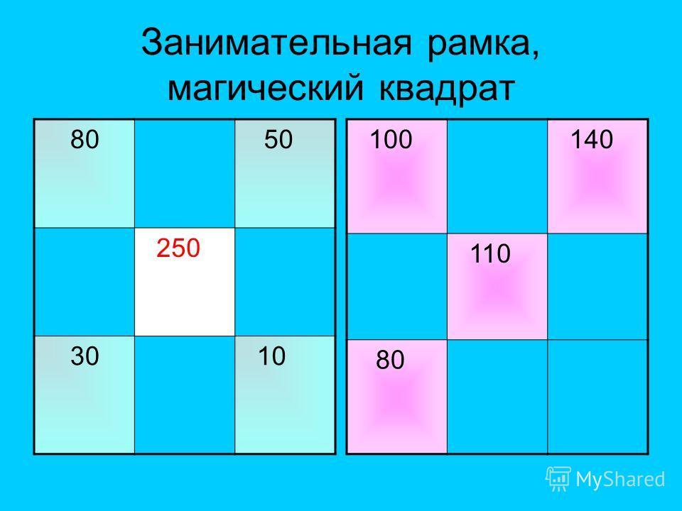 Занимательная рамка, магический квадрат 80 50 250 30 10 100 140 110 80