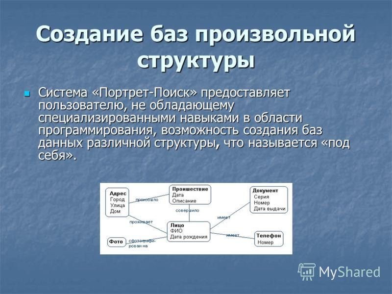 Создание баз произвольной структуры Система «Портрет-Поиск» предоставляет пользователю, не обладающему специализированными навыками в области программирования, возможность создания баз данных различной структуры, что называется «под себя». Система «П