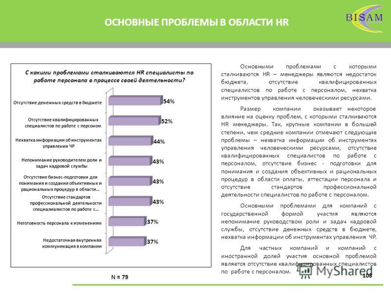 108 ОСНОВНЫЕ ПРОБЛЕМЫ В ОБЛАСТИ HR С какими проблемами сталкиваются HR специалисты по работе персонала в процессе своей деятельности? N = 79 Основными проблемами с которыми сталкиваются HR – менеджеры являются недостаток бюджета, отсутствие квалифици