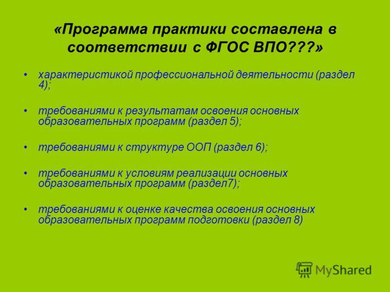 «Программа практики составлена в соответствии с ФГОС ВПО???» характеристикой профессиональной деятельности (раздел 4); требованиями к результатам освоения основных образовательных программ (раздел 5); требованиями к структуре ООП (раздел 6); требован
